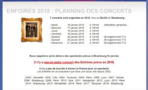 Agenda des enfoirés 2018